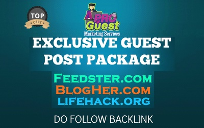 Deliver our exclusive Guest Post Package on 3 Authority Blogs