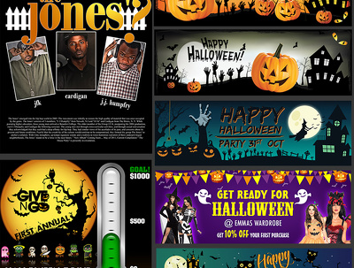 Design Halloween Banner and posters for your website and social media ads
