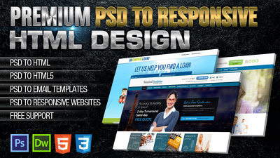 Convert your PSD to Responsive HTML5/CSS3 (Home Page + 1 inner page)