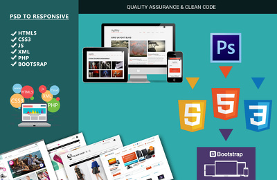 code your PSD into Fully Responsive / Bootstrap Framework