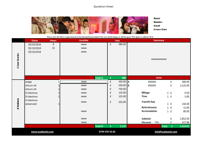 Create a automated invoice / quotation sheet