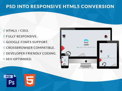 Convert PSD to Fully responsive HTML5 / WordPress