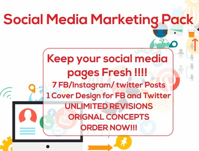 Design Insta / FB/ Twitter/ Online marketing Banner/Posts  for a week  (7pic)