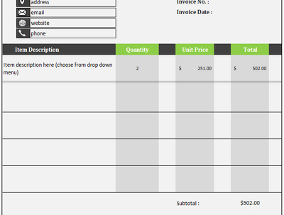 Create an invoice template within Excel