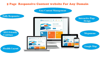 Develop 5 pages responsive content website for any domain