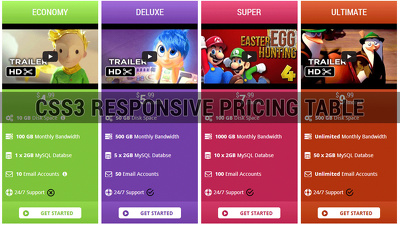 Create css3 responsive pricing table to any website