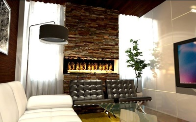 Provide full interior design for a place with 3D rendered shots and drawings