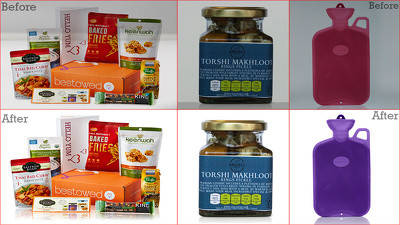 Do packaging retouch and add mirror effects 10 images