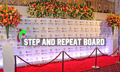 Design a step and repeat banner/wall/board backdrop for your event