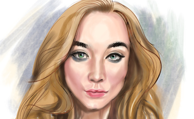 Make a realistic portrait in digital water colors