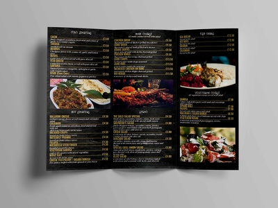 Design  takeaway menu, Folded Leaflet, restaurant menu, A4, tri fold, Z fold
