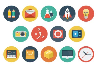 Design set of 7 flat icons for your apps or website