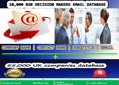 10,000 B2B Decision Makers Email database