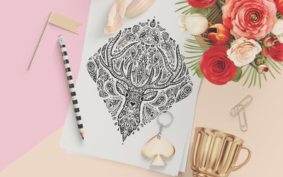 Draw a mandala style animal illustration