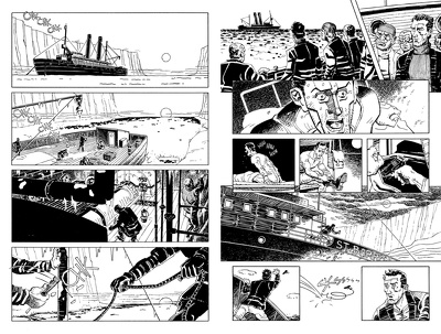 Create 1x B+W inked comic book page based upon your script