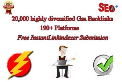 Create 20,000 GSA backlinks using Gsa search engine ranker