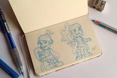 Draw a detailed character design or concept in pencil.