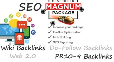 Make you Magnum SEO with PBN Backlinks, PR9 Social Signals, WEB 2.0 properties and Tu