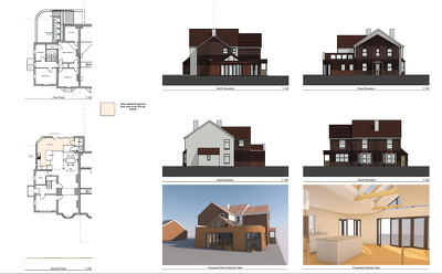 Provide full set of Planning Application drawings+3D view for your house extension