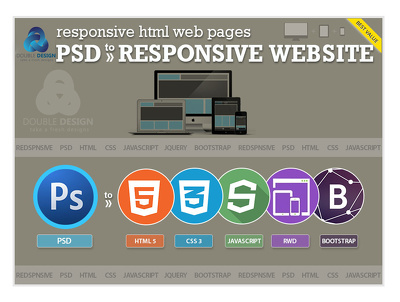 Psd to responsive HTML5 +CSS3 using Bootstrap incl-script
