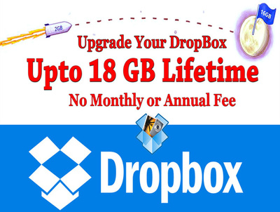 Upgrate your dropbox storage to 18 gb for lifetime