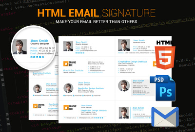 Create Clickable HTML email signature with Unlimited Revision+Satisfaction Guarantee