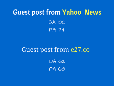 Write and publish guest post on Yahoo News and e27.co