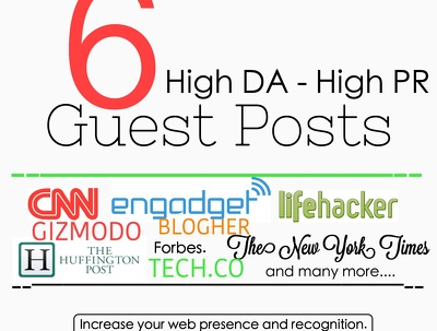 Publish Guest post on 6 high DA PA websites with dofollow link SERP