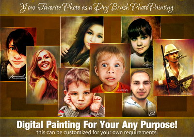 Arrange your favorite photo as a dry brush photo painting.
