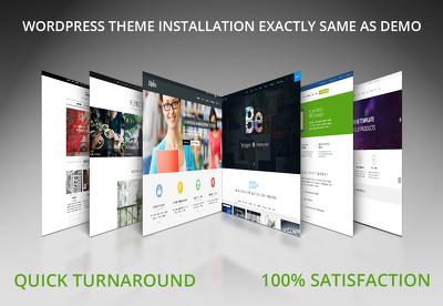 Install a wordpress theme and setup like demo