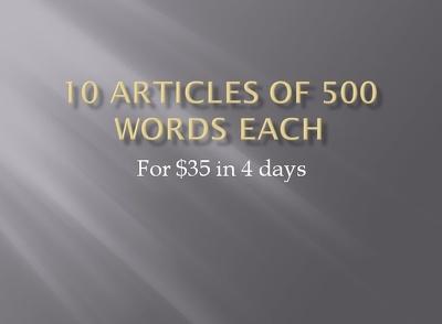 Write 10 SEO articles (500 words each)
