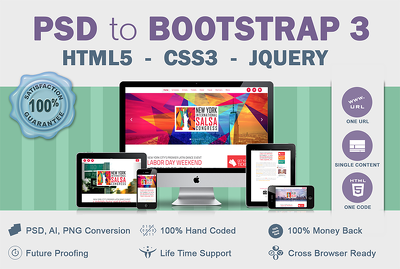 Convert PSD / AI / PNG to responsive HTML5 and CSS3 using Bootstrap 3 pixel perfect