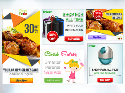 I can 5 Professional Google Adwords and Web Banner Ads Design (2-Category, 5-Size).