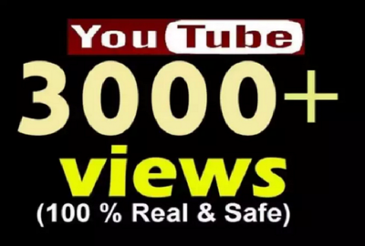 Add 3000 YouTube Views , 10 Likes ,4 Subscribers and 5 favorites any YouTube Video