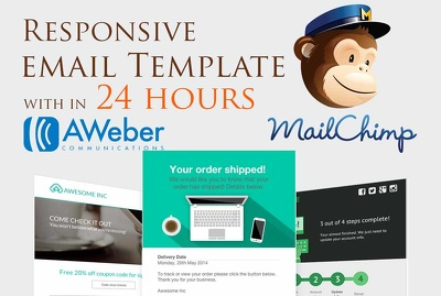 Create responsive Mailchimp editable hand coded awesome email template