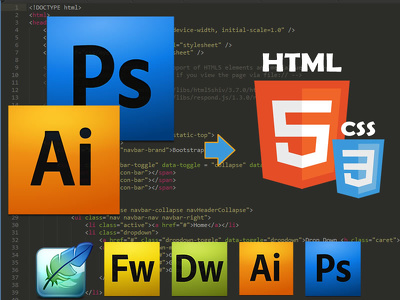 Convert your PSD/PNG/AI to fully responsive HTML3/CSS3 using Bootstrap 3