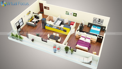Create a detailed 3D floor plan rendering