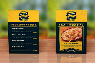 Design an attractive food menu for restaurant