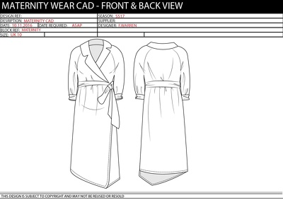 Sketch a garment design in illustrator (front & back view, B&W)