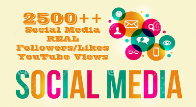 Add 2500 Twitter REAL Followers OR Other Social Media Pages Likes