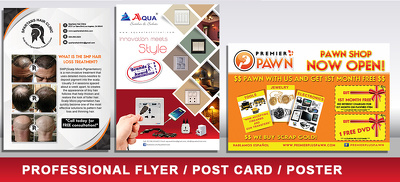 Professional Flyer,Postcard  & Poster Design. Print Ready-High Quality-