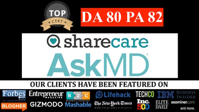 Write and publish a guest post on DA80 PA 82 sharecare.com HEALTH niche