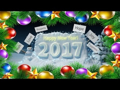 Make one of these Christmas/New Year 2017 greeting animation with your logo