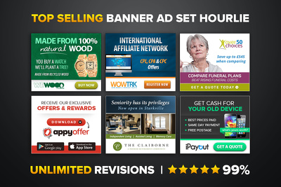 Design a killer banner ad set (7 sizes) Google Adwords HTML5