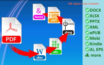 Convert PDF to Word Document, Excel Spreadsheet, PowerPoint Slide, ePUB, MOBI & XML
