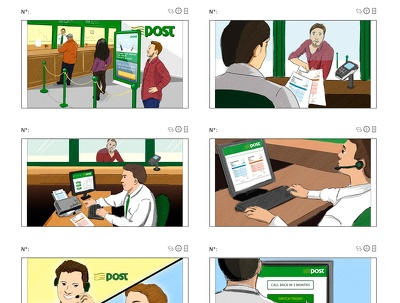 Create a professional storyboard page for your animation, film or Ad