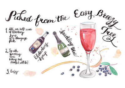 Draw food or recipe illustration in my watercolor style