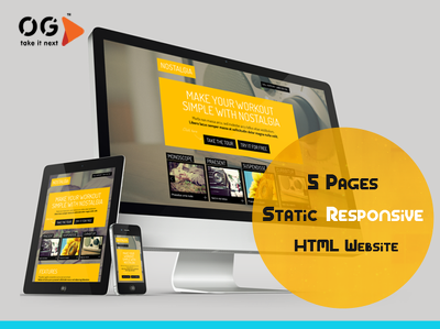 Create 5 Pages Static Responsive HTML Website