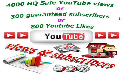 Add 4000 HQ Safe YouTube views or 300 guaranteed subscribers or 800 Youtube Likes