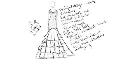 Design a bespoke wedding outift (dress, suit, mother of the bride outfit etc.)